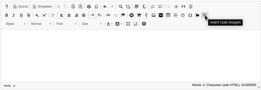 Image of text editor with cursor hovered over 'Insert Code Snippet' icon