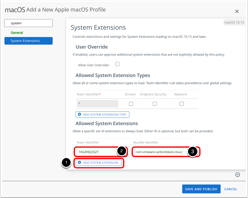 Configure Kernel extensions in Workspace ONE UEM Admin console