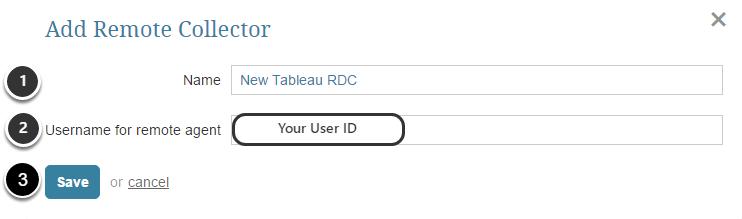 Add Remote Collector pop-up displays