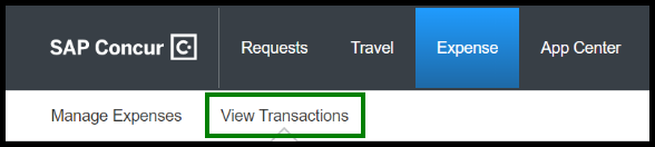 There is a green highlighted box around the View Transactions tab.