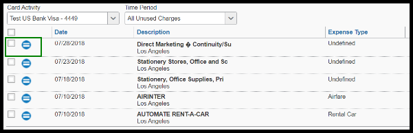 The transactions are visible. There is a green highlighted box around the checkbox and details.
