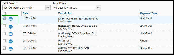 The transactions are visible. There is a green highlighted box around the checked checkbox.
