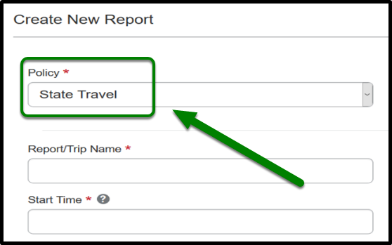 The policy in the Report Header should be State Travel.