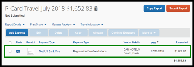 The group registration line expense is displayed. There is a green highlighted box around the line item.