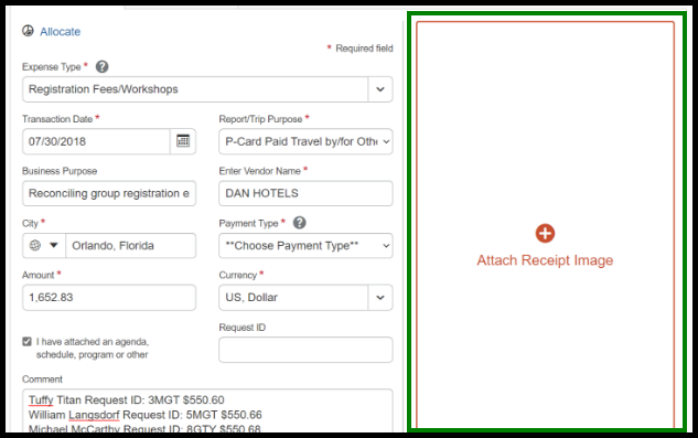 Attach corresponding receipt. There is a green highlighted box around the Attach Receipt field.