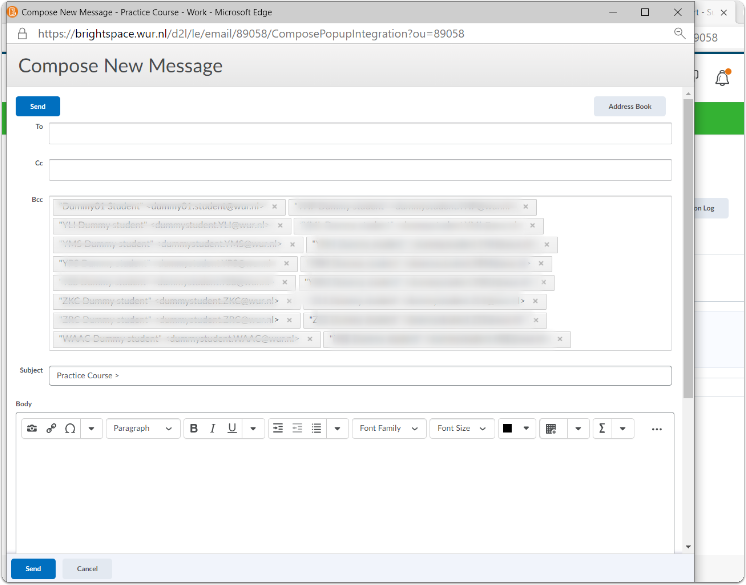 Pop-up window Compose New Message
