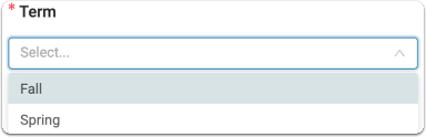 From the dropdown box at the top of the form, select which term the activity will be reported for.