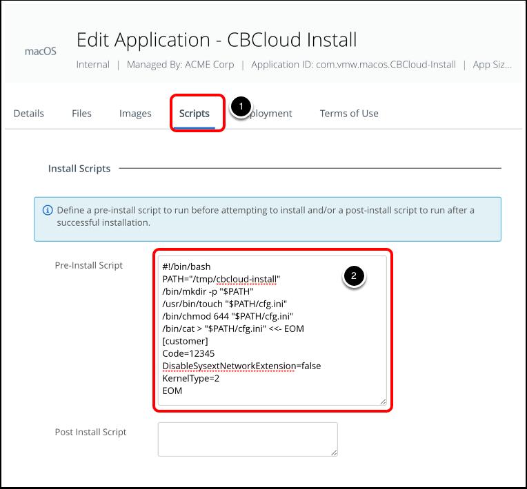 Edit script to install Carbon black cloud sensor for macOS