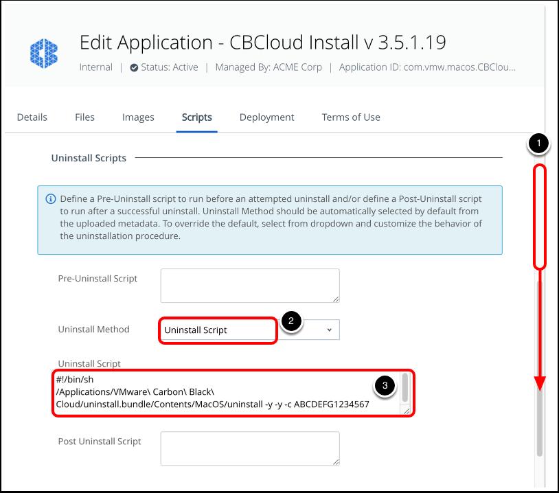 Define uninstall script for carbon black cloud sensor for macOS in Workspace ONE UEM admin console