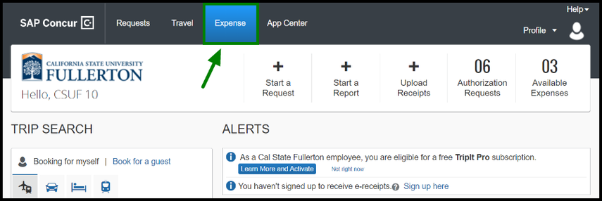 The home page for the Concur site is displayed. There is a green highlighted box and arrow pointing towards the Expense tab.
