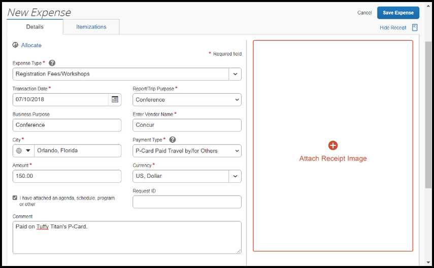 The New Expense view is displayed. Each required field has the appropriate information.