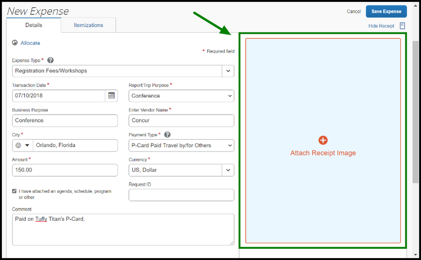 There is a green highlighted arrow poinintg toward the Attach Receipt Image option on the New Expense view.