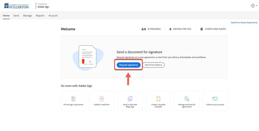 Arrow pointing to Request Signatures button