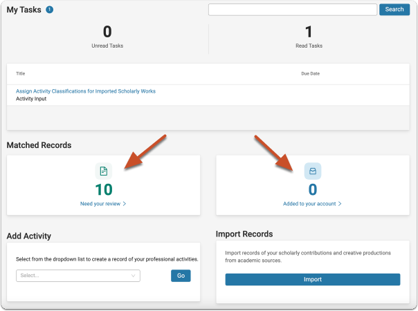 The Matched Records panel on the F180 Homepage presents you with the number of records the Interfolio Data Service has matched to you and made available for your review