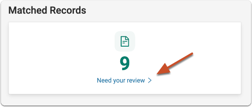 """Click """"Need Your Review"""" to review the matched records"""