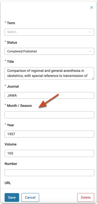 Required fields are marked with a red asterisk. Review the record, correct any errors and provide any missing but required information.