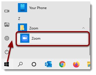 Zoom app selected from Start menu