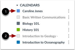 Select Displayed Calendars