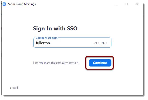 Continue button selected