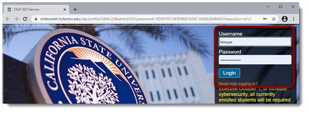 CSUF credentials entered