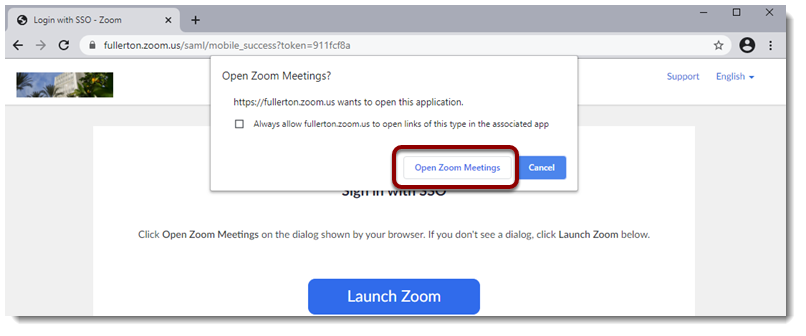 Open Zoom Meeting button selected.