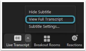 Select View full transcript