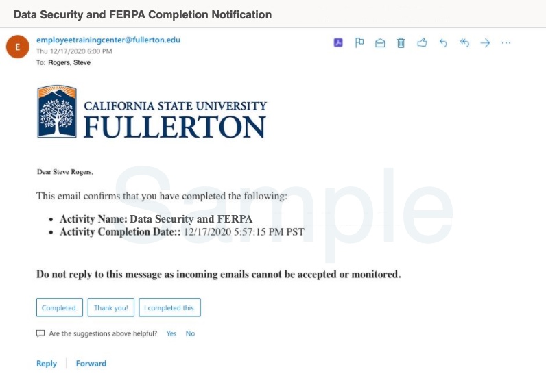 Sample completion notification email