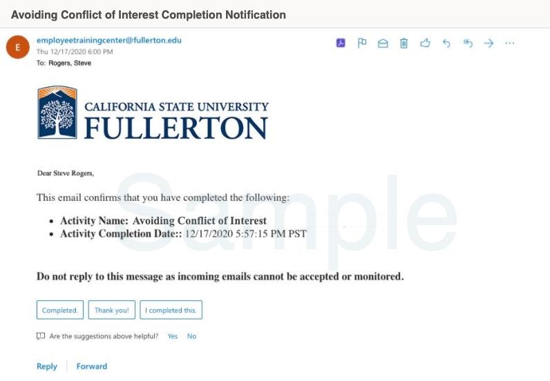 Sample confirmation notification