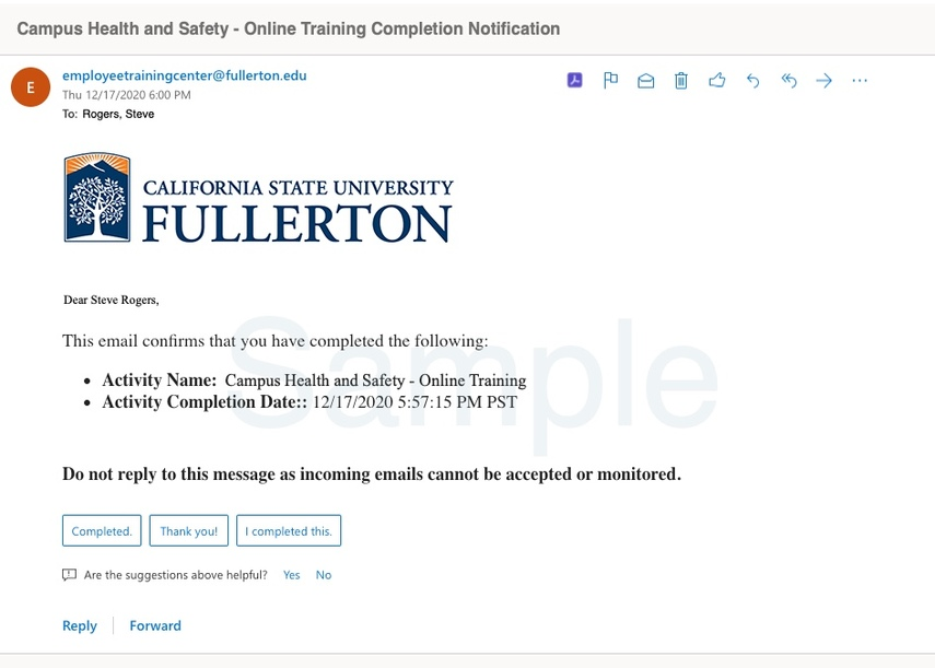 Sample completion notification