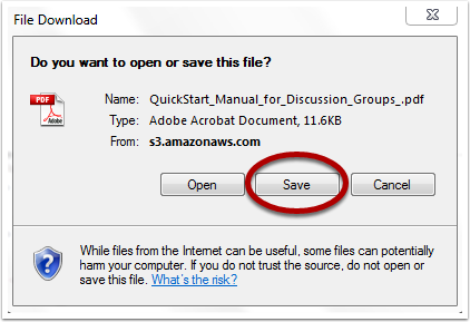 "Internet Explorer automatically gives you the option to open or save the attachment. If you select ""save"", you can choose where to save it on your computer:"