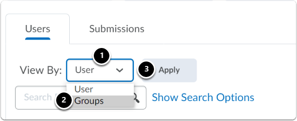 Under Users tab, next to View By click on the downward arrow, a drop-down menu will appear then click on Groups, then click on Apply