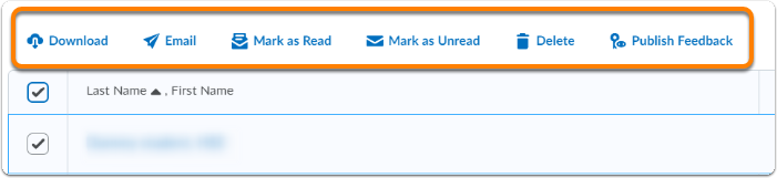 User options (Download, Email, Mark as Read, Mark as Unread, Delete and Publish Feedback