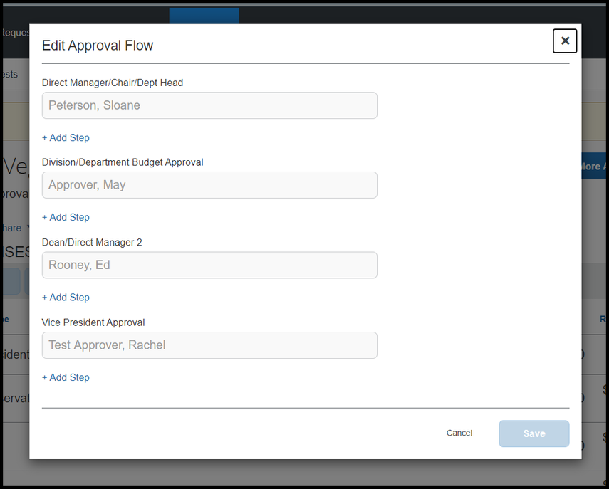 Edit Approval Flow window showing approvers added.