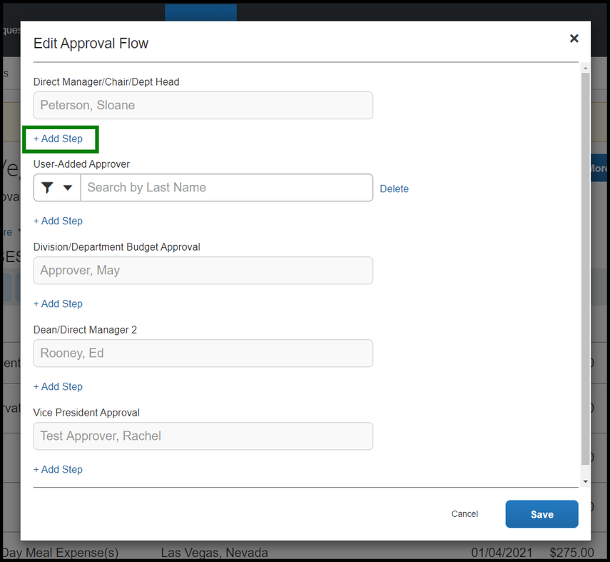Add Step option is selected and the User-Added Approver field will display. Green box showing the location of the Add Step option.