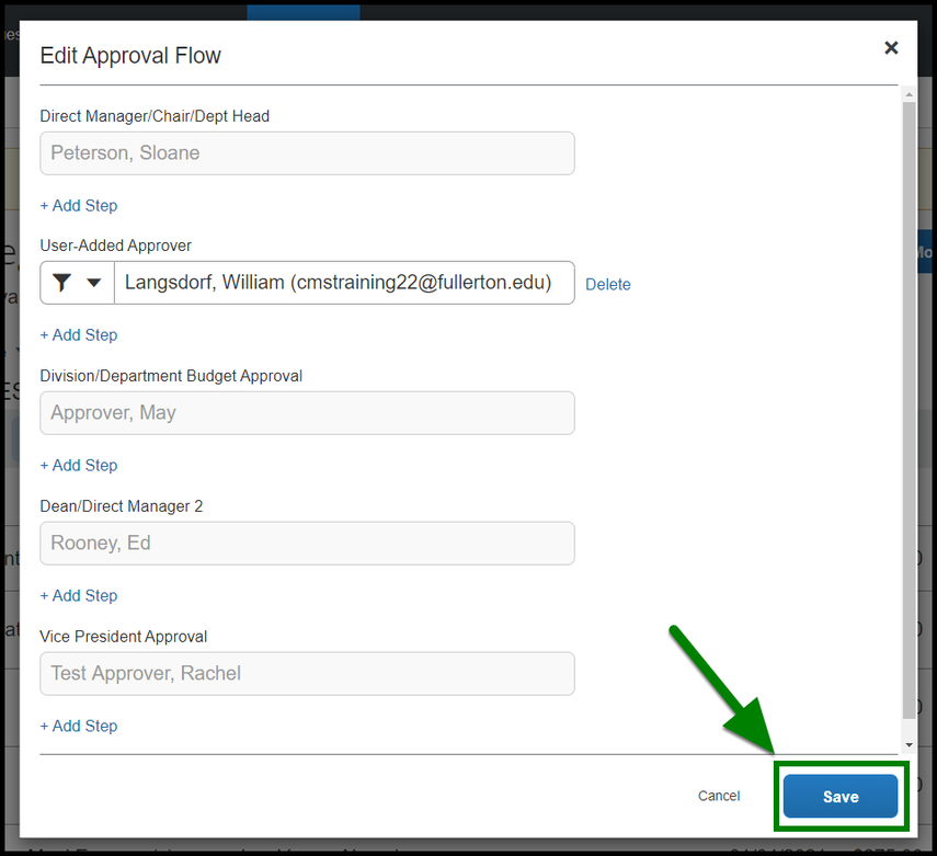 Arrow pointing towards the Save button in the Edit Approval Flow window.