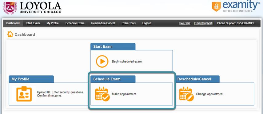 Select Schedule Exam.