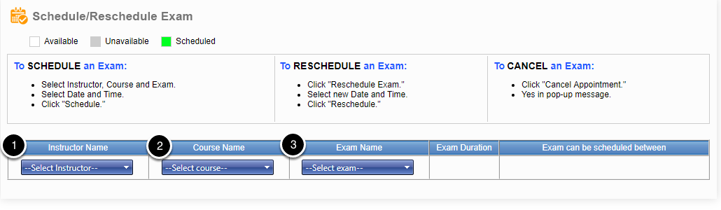 Populate your exam information.