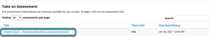 """The assessment will have """"Requires Respondus LockDown Browser"""" appended to the title"""
