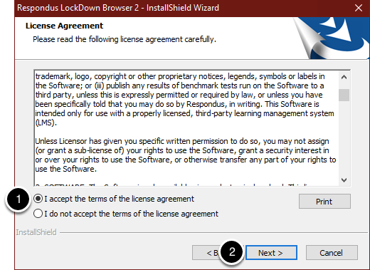 Choose I accept the terms of the license agreement and select Next