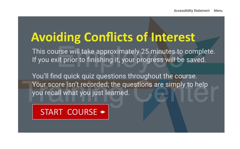 Start Course slide