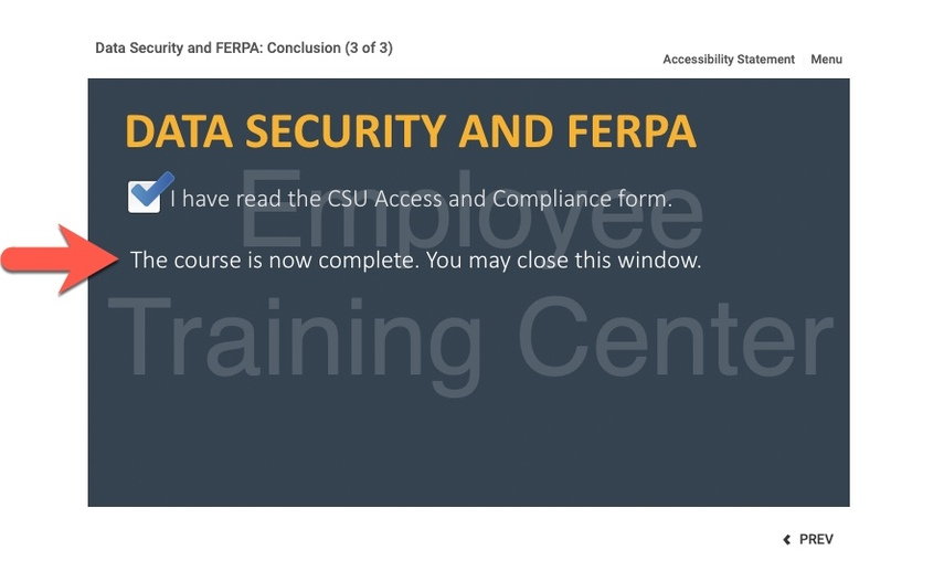 Arrow pointing to Course Complete verbiage on last slide