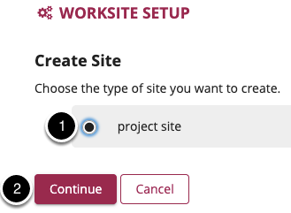 Choose project site and select Continue