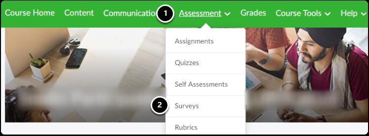 assessment menu open in navigation bar, click on surveys