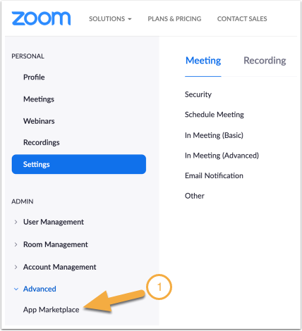 Navigate to the Zoom App Marketplace