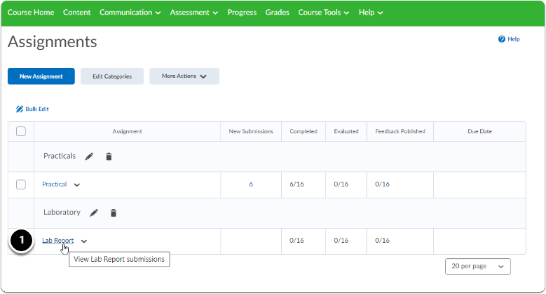 Assignments homepage - Click on the title of the Assignment