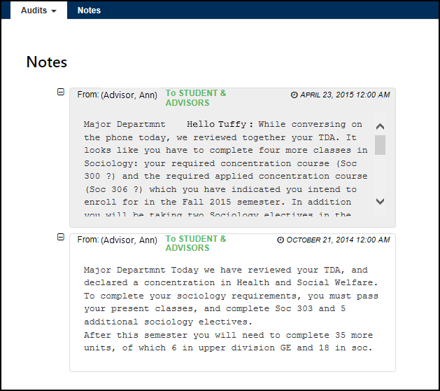 Notes screen with two TDA notes viewable