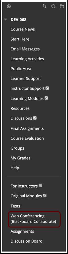Image of Blackboard course menu