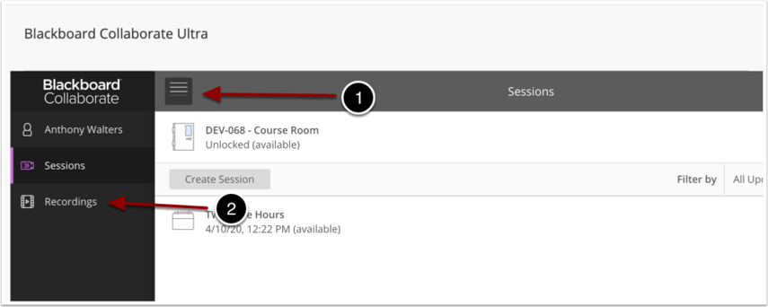 image of blackboard portal page with arrows pointing to the menu button and recordings option