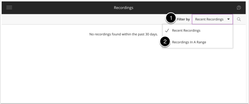 image of the recordings page