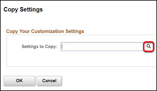 Copy settings screen